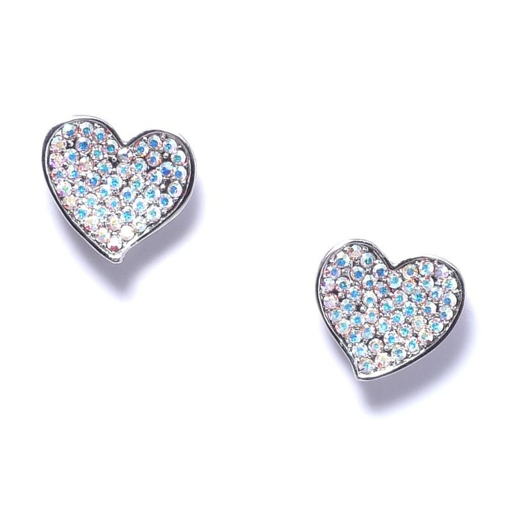 Butler & Wilson Crystal Heart Stud Earrings at aquaruby.com