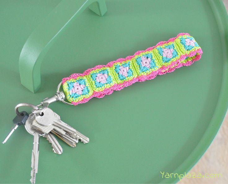 Crochet Keychain -  mini granny squares - free pattern @ yarn plaza, thanks so for share xox ☆ ★   https://uk.pinterest.com/peacefuldoves/
