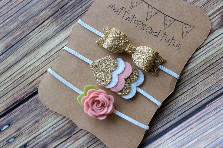 Felt and glitter headband set - newborn/baby/toddler headband - Petite headband set - blush and gold by muffintopsandtutus on Etsy https://www.etsy.com/listing/210545753/felt-and-glitter-headband-set