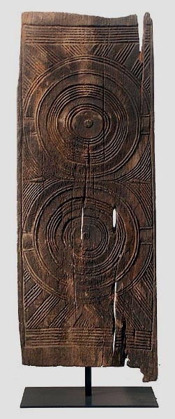 Africa | Carved wooden door from the Igbo people of Nigeria | Carved from a sacred hardwood, iroko.