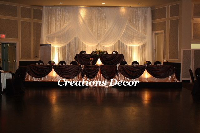Chocolate brown wedding--pretty but I like round tables with a sweetheart table better.