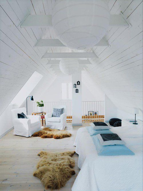 best example -  white slats with exposed beams a little rustic open floor plan well lit