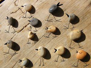vrolijke vogels. Kiezelstenen. Pebbles