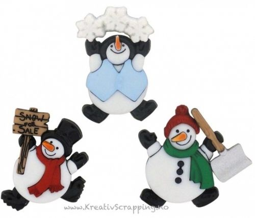 BUTTONS - DRESS IT UP JUL 7493 - ROLY POLY SNOWMEN Inneholder 3 stk snømenn i pakken. JESSE JAMES-Dress It Up Button Embellishments. Tiny embellishments for adding dimension to all of your scrapbook pages, cards, invitations and craft projects. Button embellishments come in a variety of shapes and sizes and some even feature glitter. Size, shape and number of embellishments per package varies by theme.