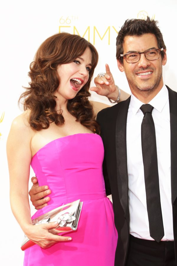 The 12 Cutest Couples From The Emmys  #refinery29  http://www.refinery29.com/2014/08/73463/cute-emmys-red-carpet-couple-pictures#slide5  Zooey Deschanel and Jacob Pechenik say hello to their fans.