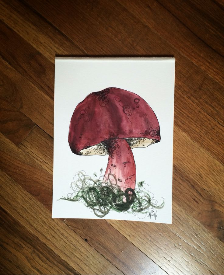 """Red mushroom for sale on 9""""x12"""" watercolor paper"""