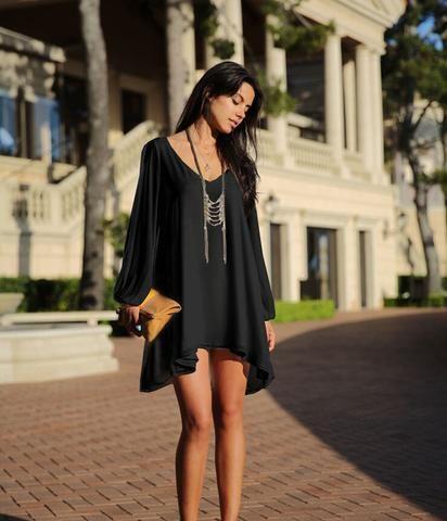 Long Sleeve V-neck Chiffon Beach Dress