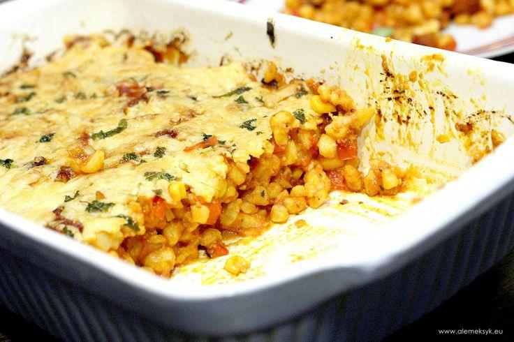 Casserole with chorizo and white corn // Zapiekanka casserole z kiełbasą chorizo i białą kukurydzą