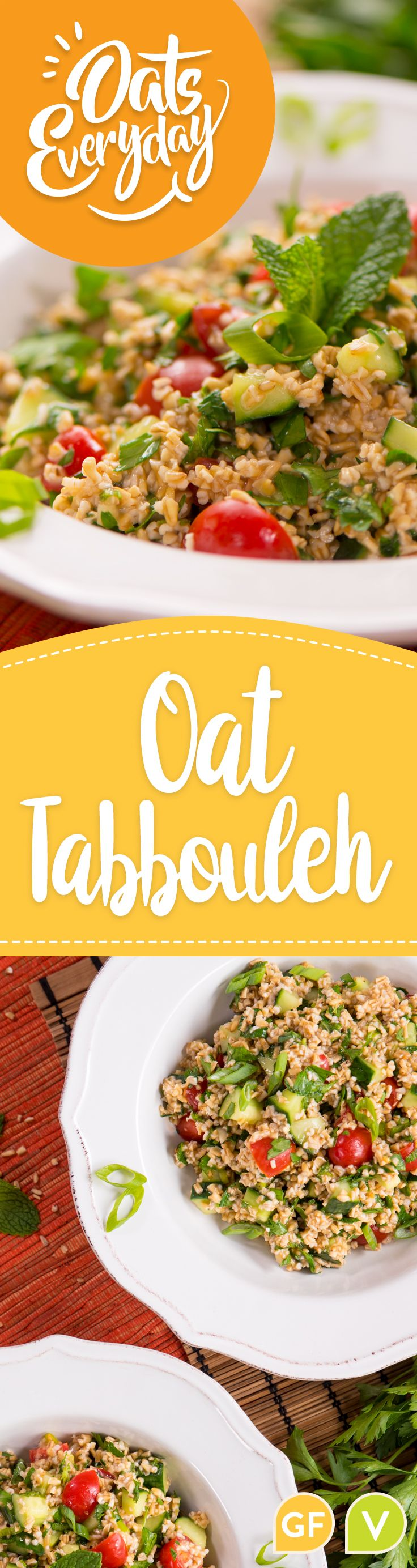 A gluten-free variation on tabbouleh salad using toasted steel cut oats.