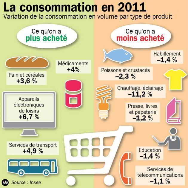 comparatif —Ce qu'on a a plus et moins acheté (étude Insee) comparatives