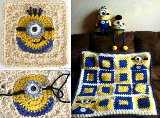 Minion Granny Square FREE Crochet Patterns