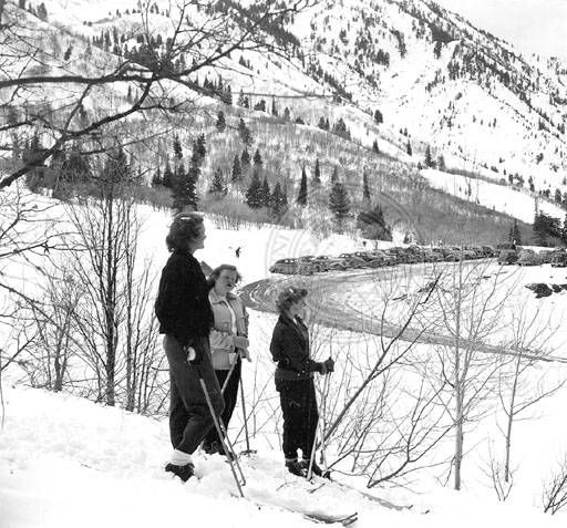 Entrance to the parking area at the public shelter :: Univ of Utah - Multimedia Archives Photographs  Skiing, Ski, Utah, Ogden, Snowbasin, Snow Basin