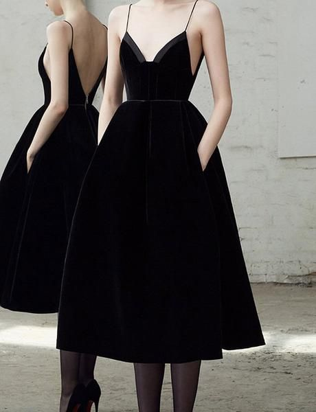 Simple A Line Spaghetti Straps Black Long Homecoming Dress