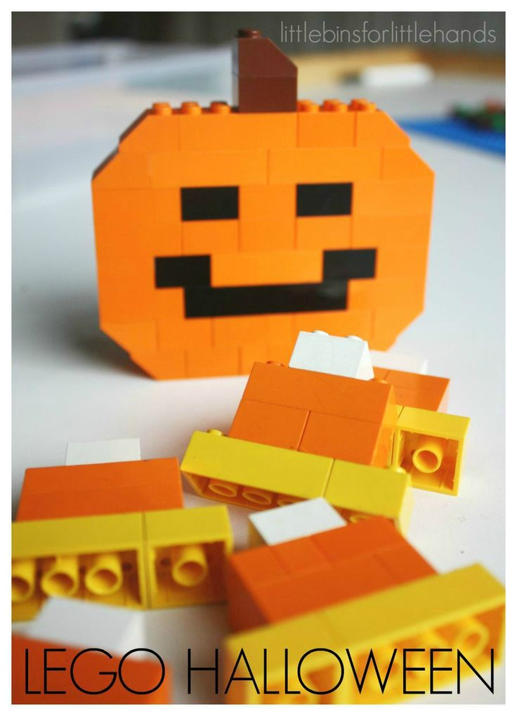 LEGO Halloween Jack O Lantern Pumpkin Candy Corn. Simple STEM challenge for kids using LEGO bricks to build candy corn and pumpkins or Jack O'Lanterns.