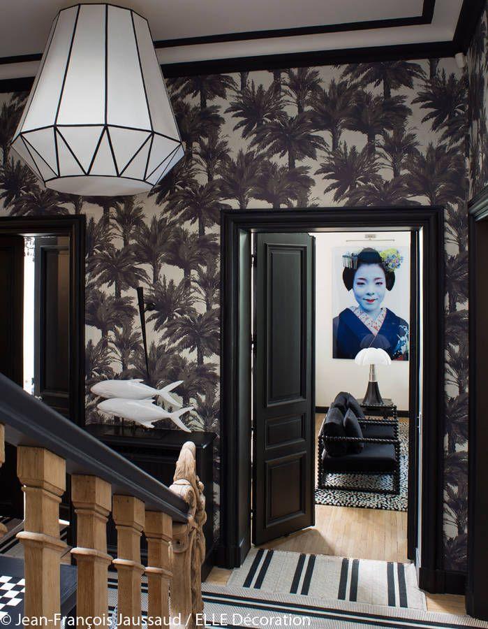 Decoration Chambre Palmiers Noir Et Blanc