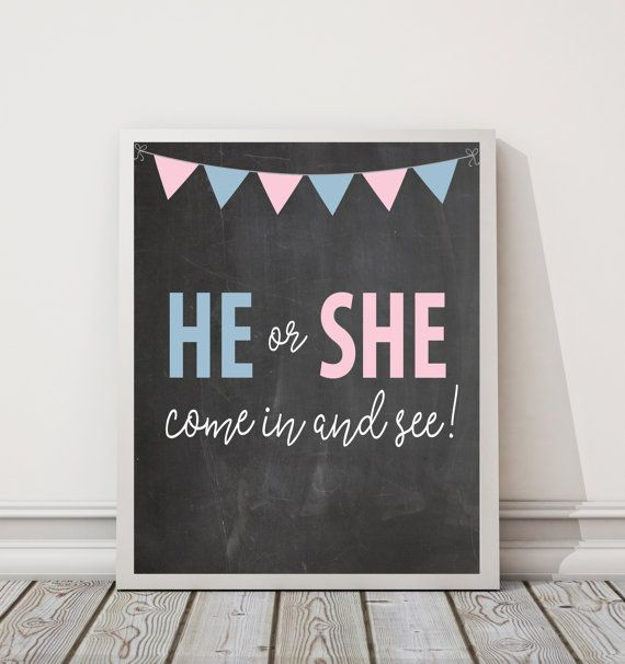 "Gender Reveal 8"" x 10"" DIGITAL DOWNLOAD Chalkboard Party Decoration Printable Sign 
