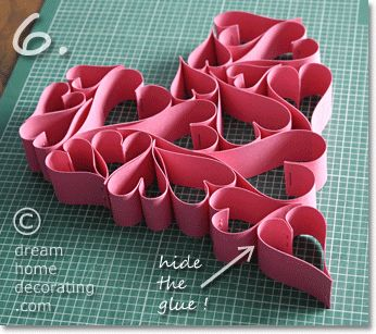 Valentines day craft idea: hearts made of paper strips from dream home decorating