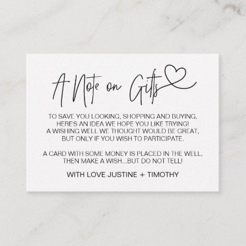 A Note on Gifts Wedding Wishing Well Card Heart Zazzle