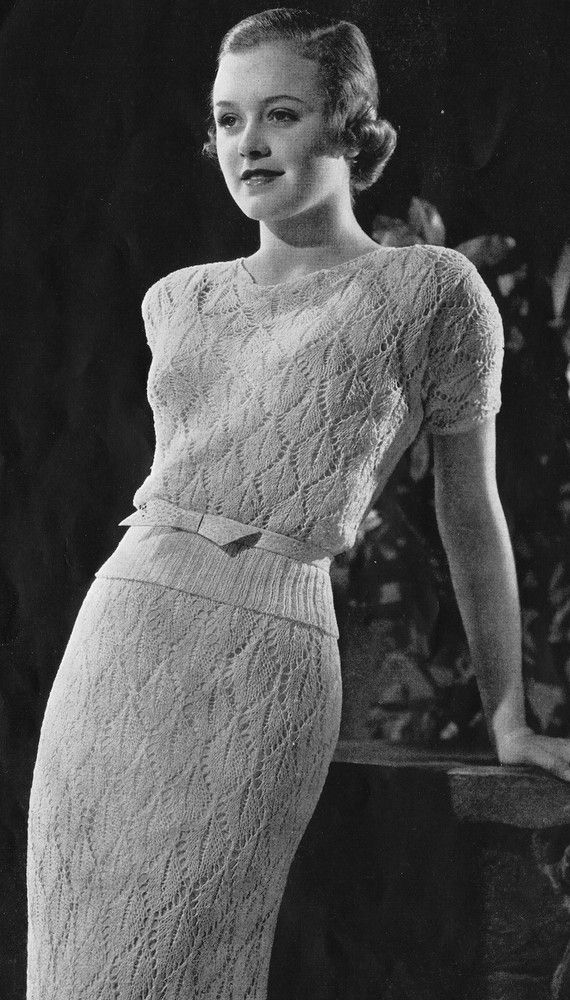 Knitted dress pattern from Minerva Style Book, Vol. 38. Published 1934 vintage fashion style photo print ad knit dress sweater open crochet belt cream white 30s
