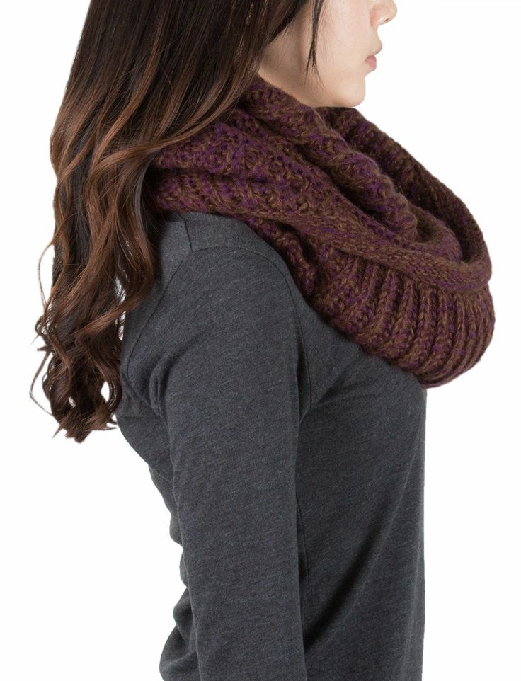 AnnaKastle Double Wrap Circle Ring Marled Chunky Knit Infinity Scarves in Purple+Rust