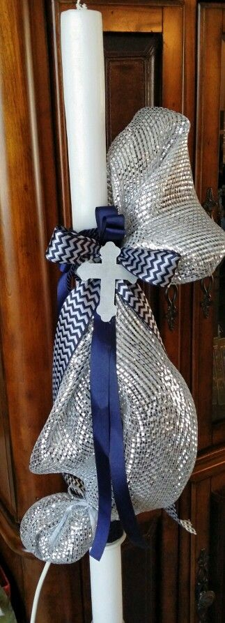 Silver and navy greek baptism candle lambada with cross