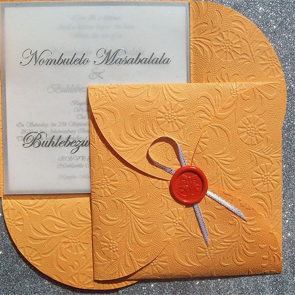 Ref Clover Orange EFW 1 ( we can do any colour) www.weddingcards.co.za