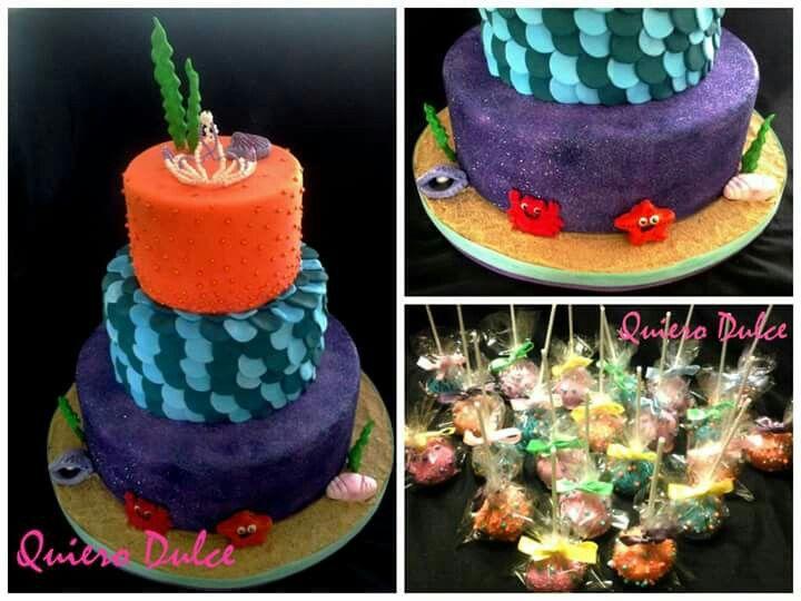 Torta y cake pops para fiesta de sirenitas