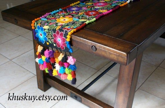 Embroidered Floral Table Runner Boho Table Bed Runner Peru Textile