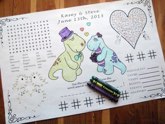 Kids Wedding Activity Placemat PDF. Your by weddingfunbylile