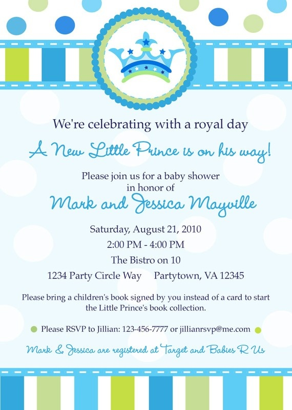 Little Prince Baby Shower Invitation By Inkberrycards On Etsy Zion