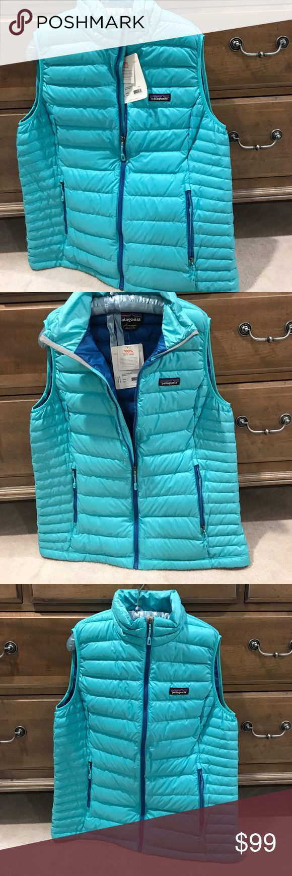 Women's Patagonia Down Sweater Vest Howling Turquoise best with blue zippers Patagonia Jackets & Coats Vests