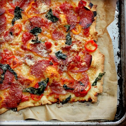 sweet pepper, salami + basil pizza. never have ventured down the DIY pizza route but i want to.