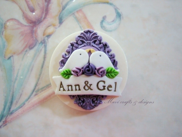 my handmade wedding souvenir -Love birds ref magnet