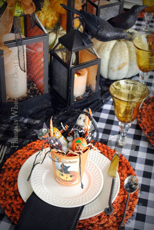 halloween dinner party tablescape place setting with candy buckets crows lanterns - Halloween Place Settings