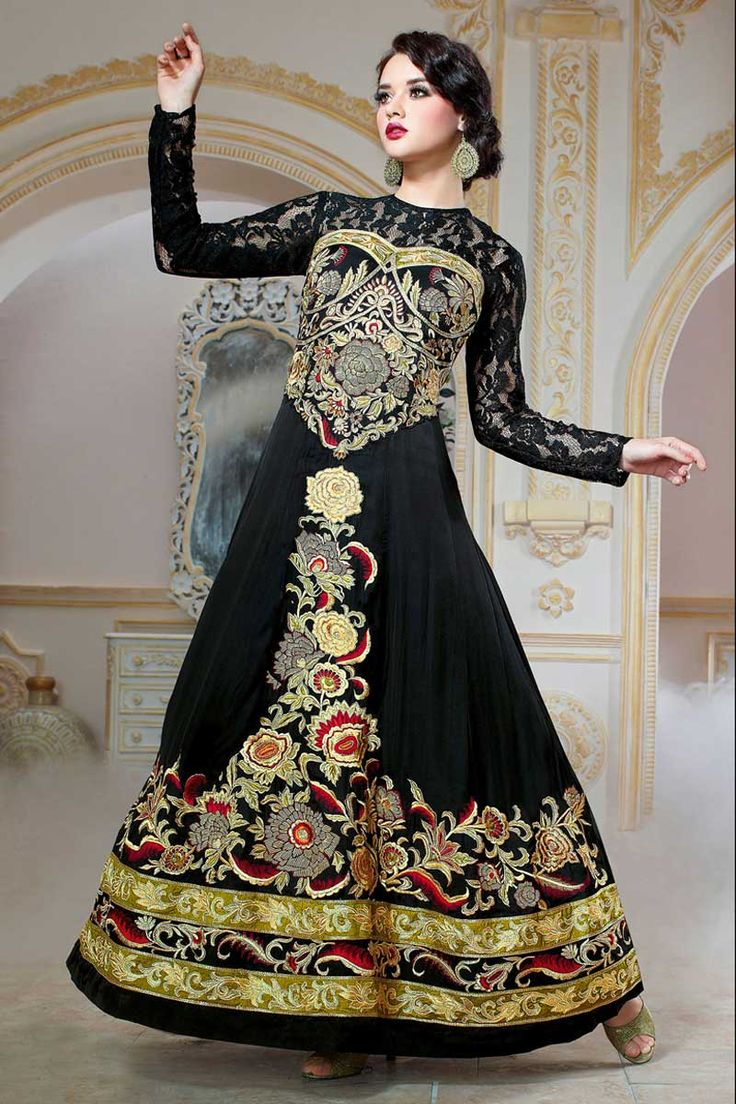 Black georgette anarkali gown with price $148.46.Andaaz fashion presents new arrival.Embellished with embroidered, resham, zari, stone and hand.It is perfect for festival wear, party wear and wedding wear. http://www.andaazfashion.us/womens/gowns/occasion/wedding-wear