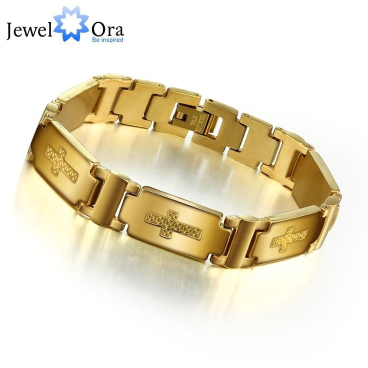 Fashion Cross Accessorise Man Bracelet 304L Stainless Steel With Gold Color