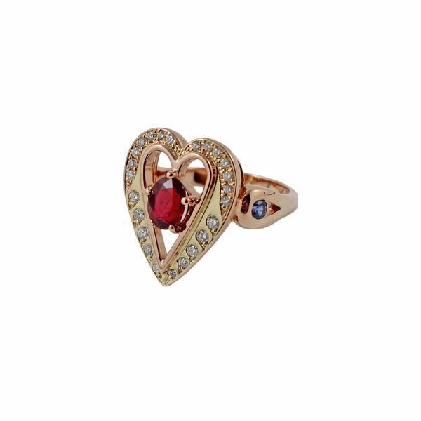 Custom order for Linda Carter - Ruby, blue sapphire, diamond, heart fl