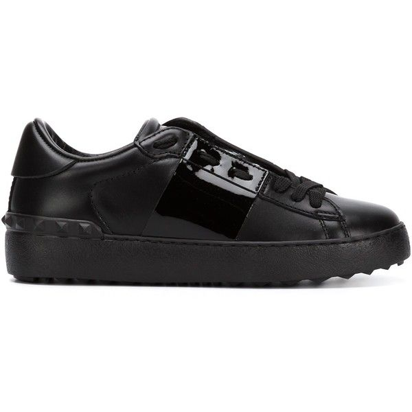 Valentino Garavani Open Sneakers (660 CAD) ❤ liked on Polyvore featuring shoes, sneakers, black, leather flat shoes, black lace up sneakers, black flat shoes, leather shoes and black shoes
