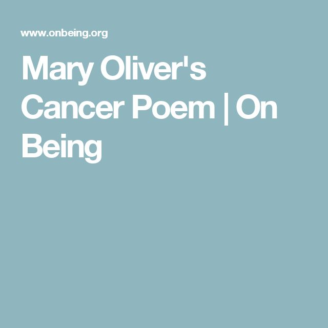 Mary Oliver's Cancer Poem | On Being
