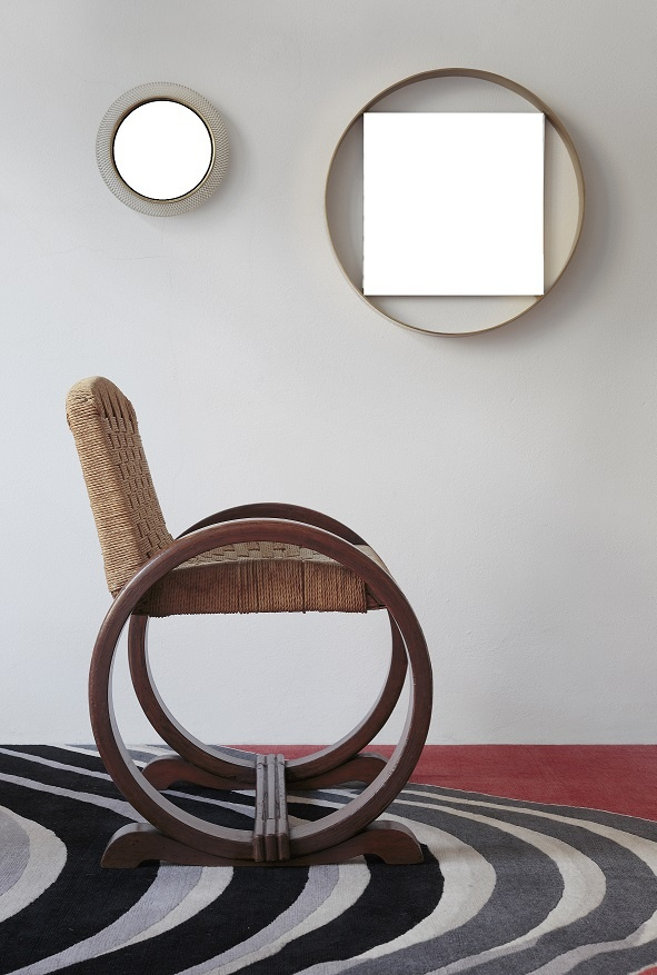 On Sale @ Galleria Wabi _ French chair 1930 in the manner of Audoux Minet for Vibo _ Mirrors 1950