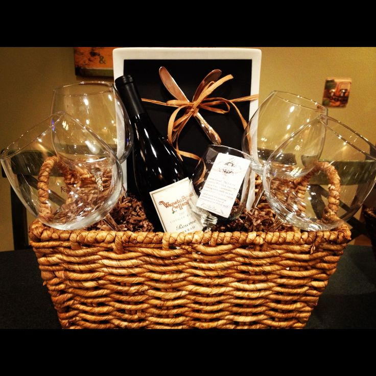 DIY wine gift basket - for shower throwers!  1 or 2 bottles of wine, 2 glasses, cheese, crackers, cheese knife...