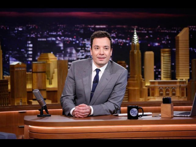 """In this photo provided by NBC, Jimmy Fallon appears during his """"The Tonight Show"""" debut on Monday, F"""