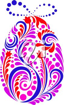 iCLIPART - Clip Art Illustration of an Abstract Easter Egg in a Floral Style