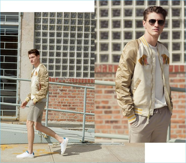 Khaki Shorts: Model Eli Hall sports an Alpha Industries tiger souvenir jacket $225 with Theory shorts $165. Eli also rocks a Reigning Champ tee $90 and George Brown BILT sneakers $295.