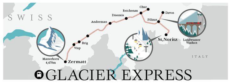 GLACIER EXPRESS, Swiss Map