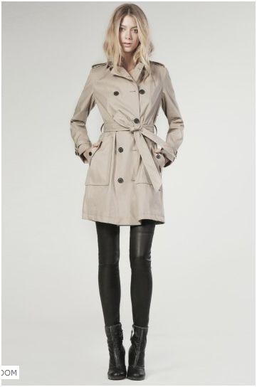 khaki trench, leather leggings