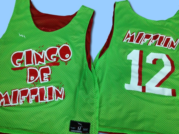 Cinco de mifflin pinnies are five star.  Made to order red and neon green pinnies from Lightning Wear.  Cut sewn and printed in Maryland USA.Mifflin Pinny, Order Red, Neon Green, Green Pinny, Maryland Usa, Cut Sewn, May 5, Mayo Shirts, Lightning Wear
