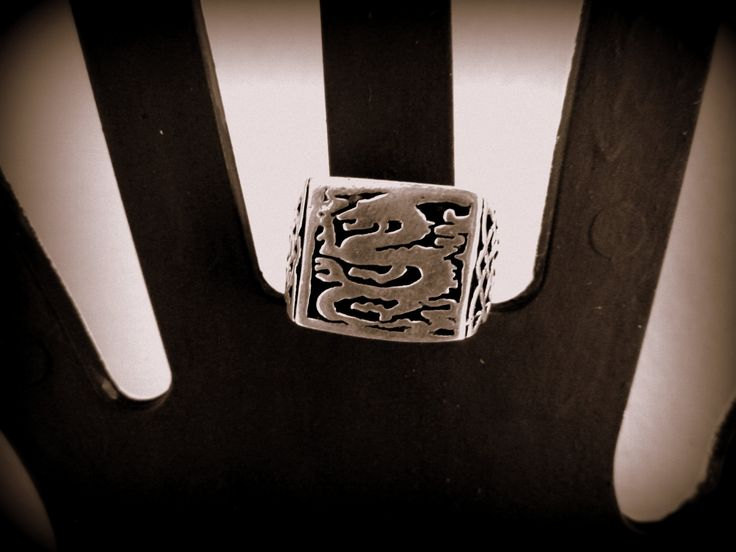 Handmade silver ring,men ring,dragon ring by accessoriesformen on Etsy