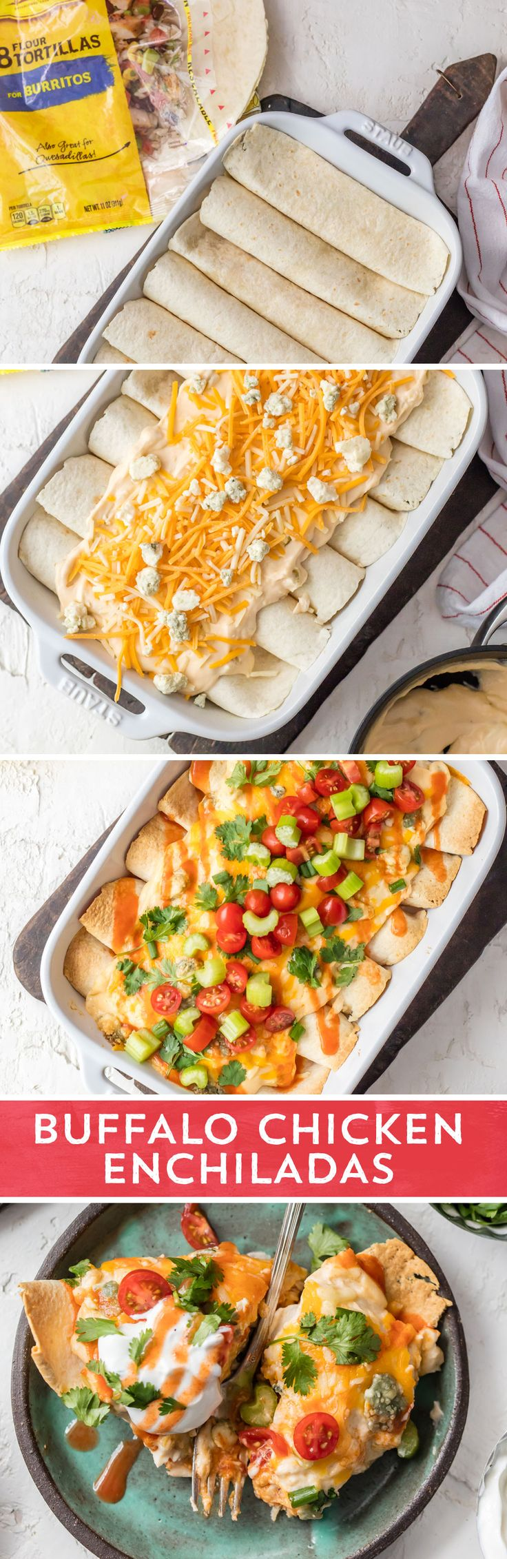 Craving buffalo chicken? These Buffalo Chicken Enchiladas from @cookierookiebec are the perfect twist on your favorite game day dip! They're the perfect combination of creamy and spicy, sure to be a hit for dinner any night, or as a game day snack! This quick and easy recipe is ready to eat in 40 minutes - and is as fool-proof as they come!