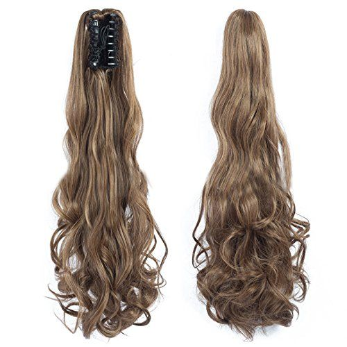 Ponytail Clip in Hair Extensions 24 Inch Synthetic Ponytail Wigs 120 Grams Brown to Blonde Long Natural Claw Clip Curly Ponytail Hair Piece, #4/27